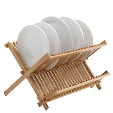 Large Bamboo 2 Tier Foldable Kitchen Dish Rack Drainer Plate Cup Holder