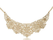 Gold Tone Matte Filigree Floral Cut Out Chunky Statement Bib Collar Necklace