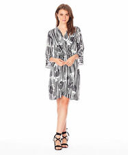 Katies boho 3/4 Bell sleeve Stripe cross front tunic DRESS Lined size 18 NEW