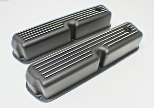 FORD WINDSOR 289-302-351 BLACK TALL ROCKER COVERS + BREATHER PAIR