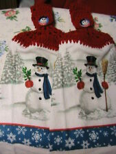 2 SNOWMAN~SNOWFLAKES crochet top kitchen~bath hand towels~XMAS~SNOWMAN BUTTONS