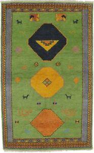 Geometric Tribal Design Indo-Gabbeh 4'0X6'5 Modern Oriental Rug Handmade Carpet