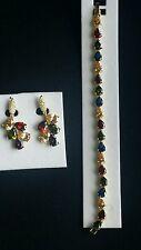 14K Yellow Gold Plated Bracelet & Earrings Set in multicolour Cubic Zirconia