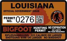 "4"" Louisiana La Bigfoot Hunter Hunting Permit Sticker Sasquatch Vinyl Decal"