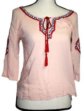 Angie Womens Size S Pink Top Blue Red Embroidery 3/4 Sleeve Boho Peasant Tunic