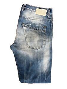 Diesel Krayver 0823S Regular Slim Carrot Blue Distressed Jeans W32 L32 ES 8263