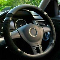 38cm PU Leather Embossed Car Steering Wheel Cover Black Four Season Protector AU