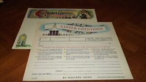 Western Union Greetings Unused Form Nice Graphic's good color Easter Holiday