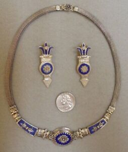 GORGEOUS LAPIS LAZULI .925 STERLING SILVER NECKLACE & MATCHING EARRING SET