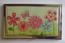 j Country flower Garden butterfly METAL ID HOLDER business credit card wallet