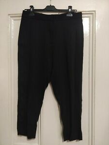 All Saints Drop Crotch Black Tailored Smart Trousers Size 10 With Front Pleats