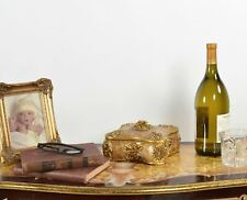 Gold Jewelry Trinket Medici Table Box Removable Lid Table Decor