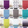 Waterline Printed Modern Bathroom Shower Curtain 180cm x 180cm 12 Rings Hooks