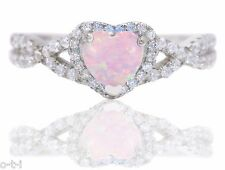 White Gold Infinity Celtic Engagement Heart Pink Fire Opal Silver Ring