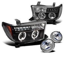 2007-2013 TUNDRA/2008-2015 SEQUOIA BLACK HALO PROJECTOR LED HEAD LIGHTS+FOG LAMP
