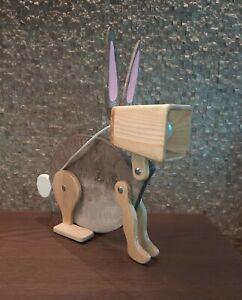 wooden handmade desk lamp rabbit