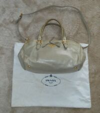 Prada Off Grey Leather Tote Shopper Shoulder Strap Popper Bowler Womens Handbag