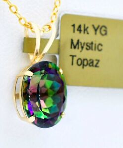 MYSTIC TOPAZ  3.50 Cts  Lg PENDANT 14K YELLOW GOLD ** New With Tag **