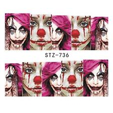Nail Art Stickers Water Decals Transfers Horror Zombie Makeup (STZ736)