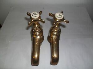 Brass Original Antique belfast sink taps refurbished old vintage reclaimed