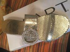 NEU HIGHLIGHT !  LEDER PANTOLETTE STRASS-SCHLIEßE GR. 38 APART gold *512054
