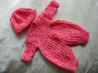 "Doll Clothes Handknitted fuchsia cap one-piece romper set for Bitty Baby 15""  18"