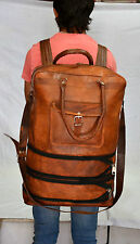 Vintage leather messenger brown goat hide luggage travel bag backpack briefcase