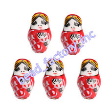 Hot 5Pcs Red Porcelain Ceramics Russian Nesting Doll Beads 2.2mm Hole 22x13mm