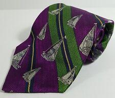 RARE Tommy Hilfiger NECKTIE- Nautical -Sailboats-purple, green, blue, gold/pl***