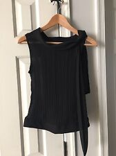 DUEN Chiffon Black Sleeveless Top with Tie Neck Size XS