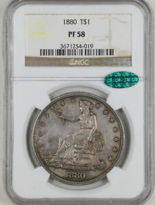 1880 $1 Proof Trade Silver Dollar PF58 NGC CAC 3671254-019