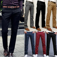 Men's Formal Business Trousers Chinos Slacks Slim Fit Jeans Straight Leg Pants
