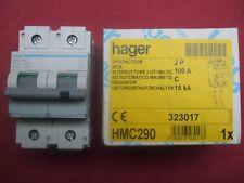 Réf HMC290 DISJONCTEUR HAGER 2P 100A COURBE C 15kA 415V 3 MODULES NEUF