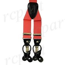 New in box Men's Convertible Elastic Suspender braces Coral clips buttons