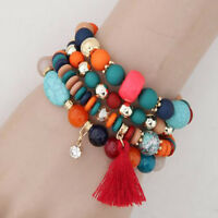 Beads Women Jewelry Tassel Crystal Bracelets Candy Color Multilayer Bangles