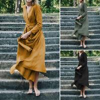 ZANZEA Women Wrap V Neck Long Sleeve Tunic Dress Ladies Long Split Party Dresses