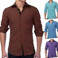 Herrenhemd langarm Polo Shirt Slim Fit Freizeithemd Casual (4 Farben)