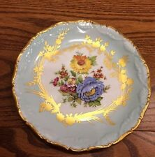 Antique Soft Blue Limoges Gold Gilt Plate with Floral Bouquet 7 Inches Gold Trim