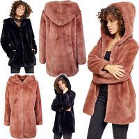 URBAN CLASSICS Giacca Cappotto donna Teddy Coat con cappuccio TB2375