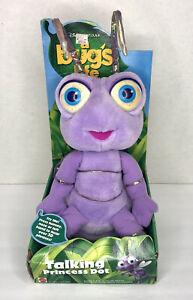 Disney Mattel A Bug's Life Talking Princess Dot Plush Stuffed Toy Ant Vtg NOS