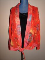 Chico's Red 100% Silk Asian Oriental Prints Sheer Tie Front Top Size 3 (XL)