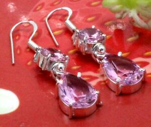 925 Sterling Silver Pink Topaz Gemstone Jewelry Handmade Earring Size -1.2
