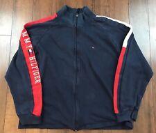 VTG Men's Size XL Tommy Hilfiger Blue Zip Up Arm Spellout Jacket Big Flag Logo