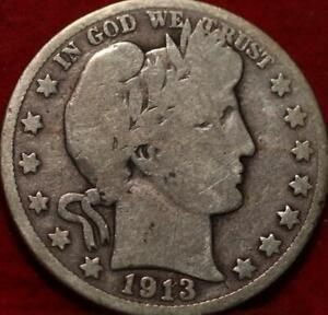 1913-S San Francisco Mint Silver Barber Half Dollar