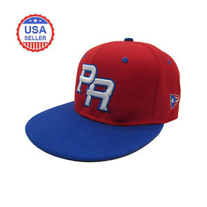 Puerto Rico PR Fitted Baseball Cap Hat Red Royal