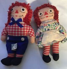 "Raggedy Ann & Andy Cloth Knickerbocker Dolls 6.5"" Small size Old Vintage Antique"