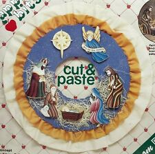 NEW 1980s Vntg Plaid Cut & Paste Wooden Christmas Ornament Kit 59216 Set 7 10019