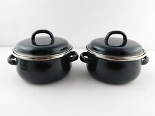 Set of 2 Megaware Cookware Green Enamel Covered Pots .5Qt Made in Spain Pot