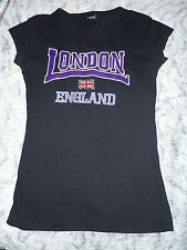 tee-shirt noir LONDON ENGLAND violet taille 34