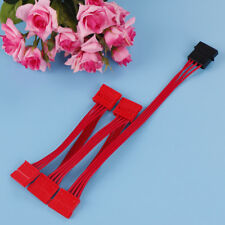 1Pc 4pin ide to 5 15pin sata splitter hard drive power cable cord 18AWG red OI
